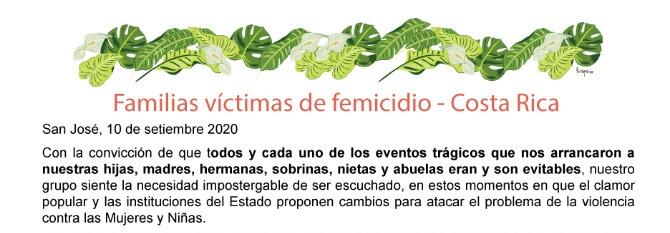 COSTA RICA. Comunicado de Familiares Víctimas de Femicidio