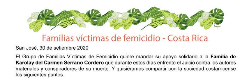 COSTA RICA. Grupo de Familias Víctimas de Femicidio envía apoyo solidario a la familia de Karolay, pero también envía mensajes al pueblo